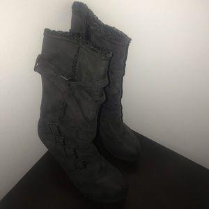 Grey strapped heels